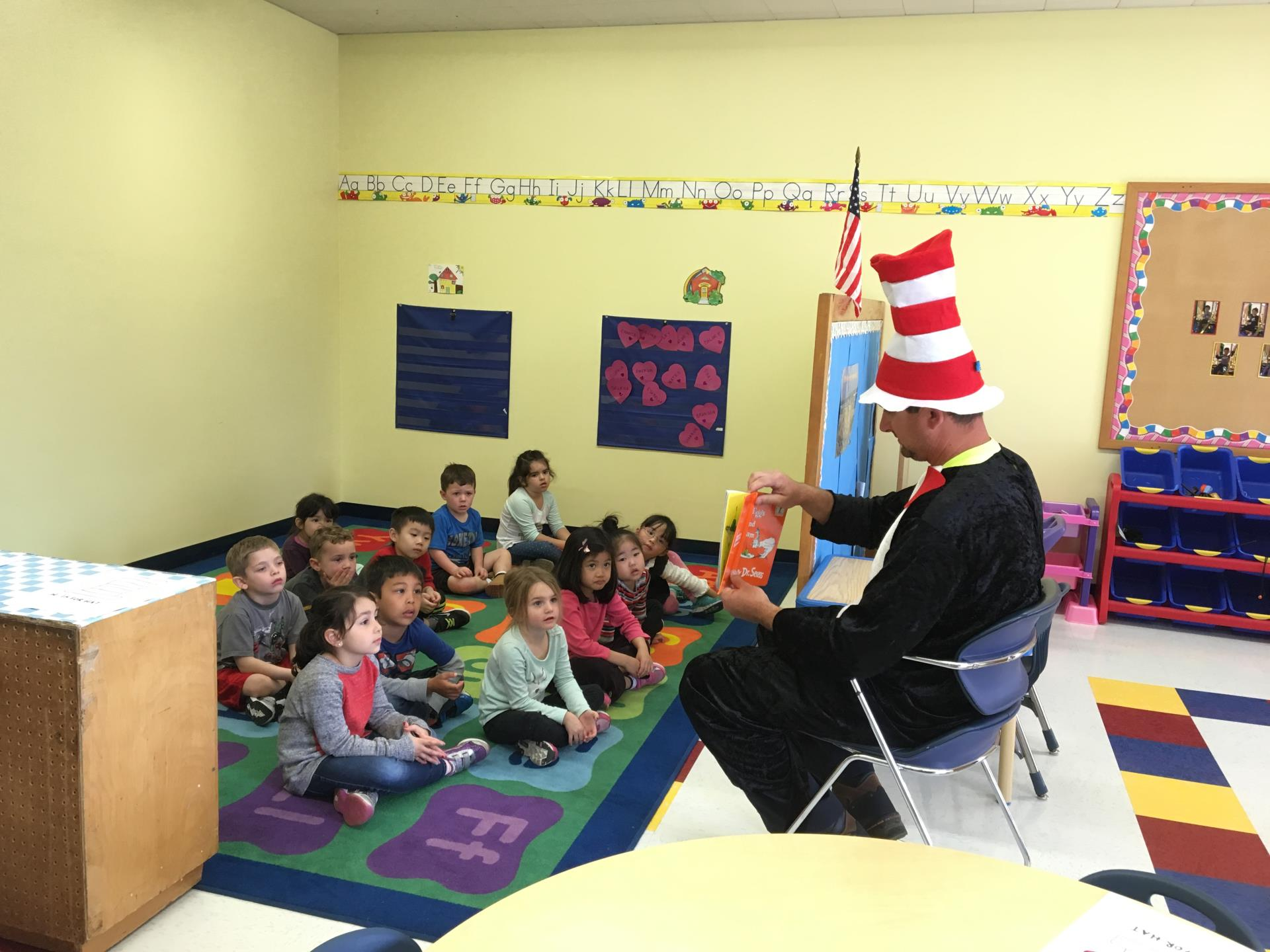 Cat In The Hat visits Adventures in Learning and read Green Eggs & Ham