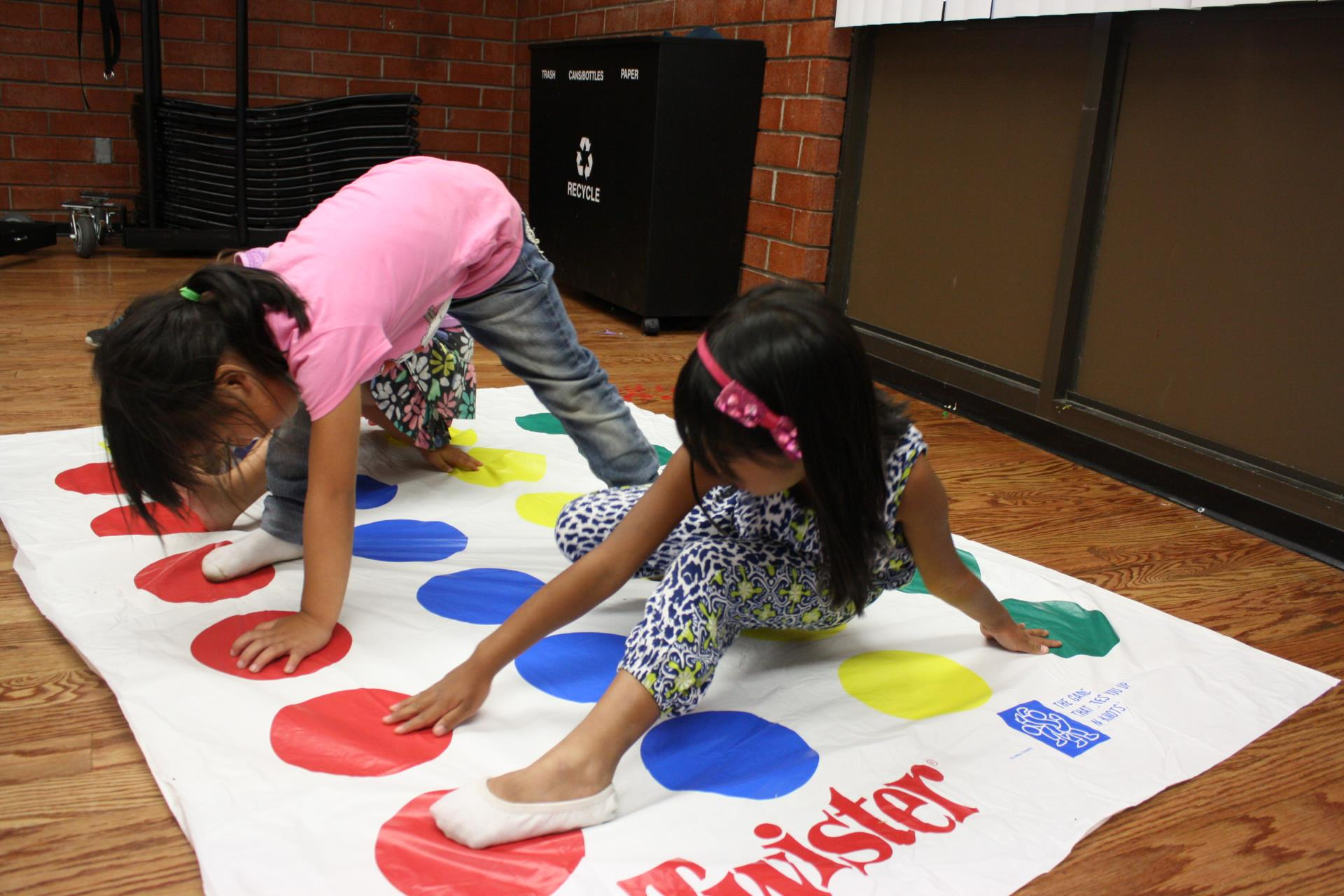 Youth participate in Twister.