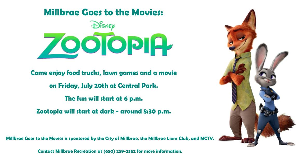 Millbrae Goes to the Movies Zootopia Ad (002)