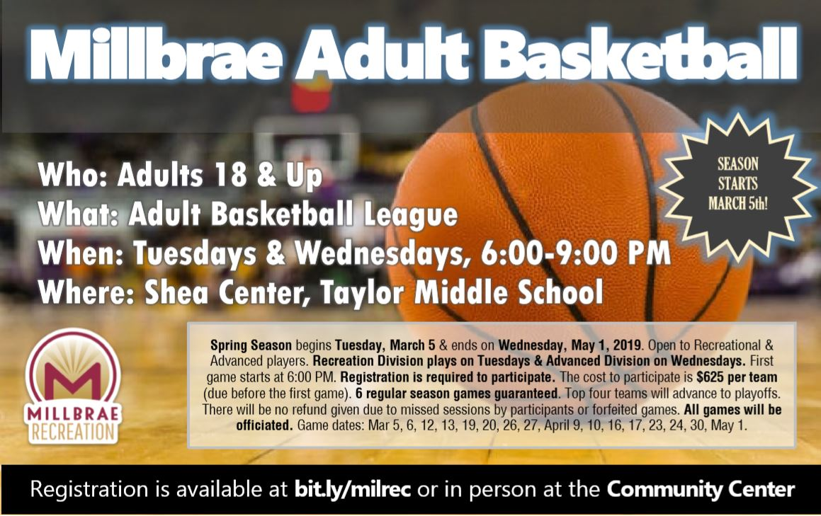 Millbrae Adult Basketball Spring 2019