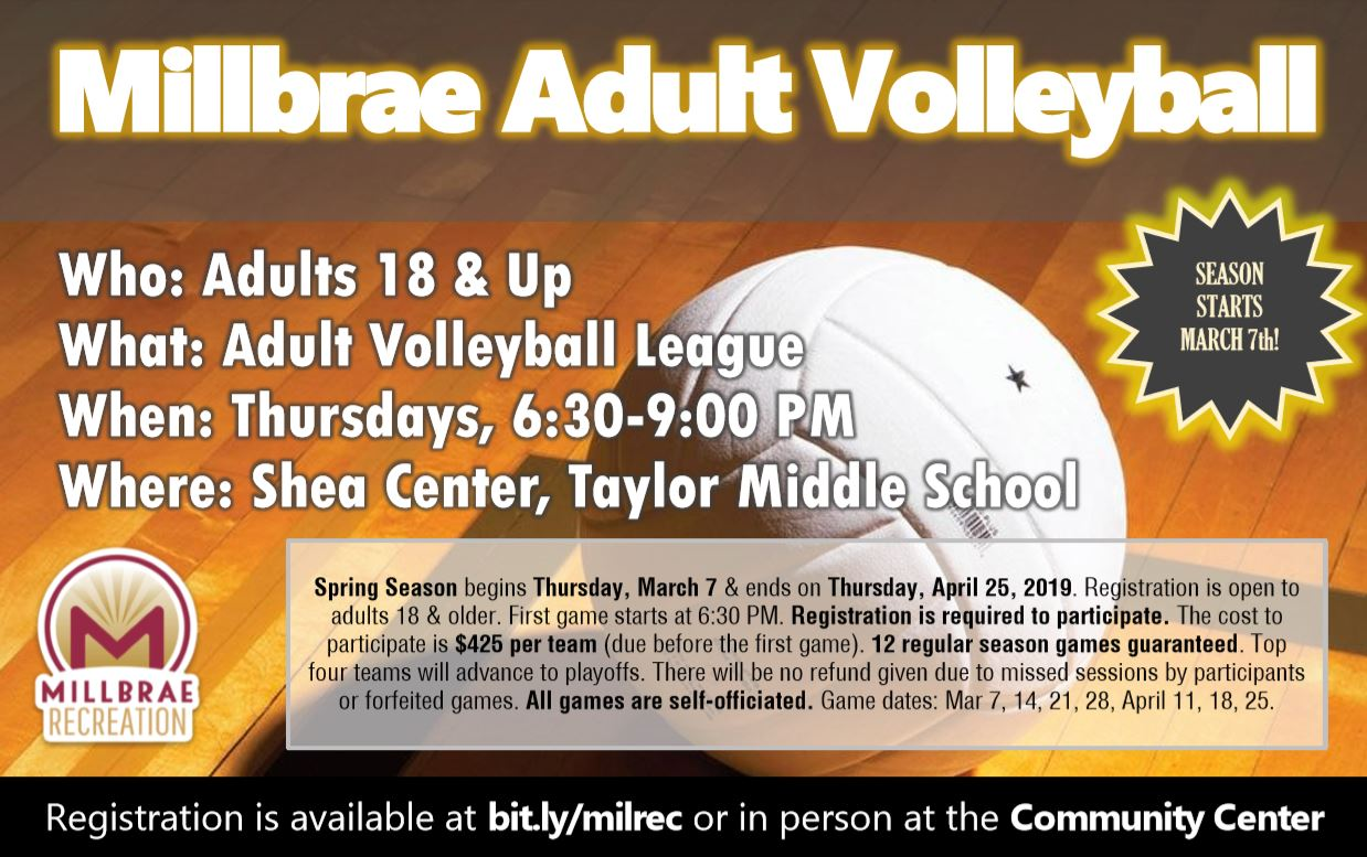 Millbrae Adult Volleyball Spring 2019