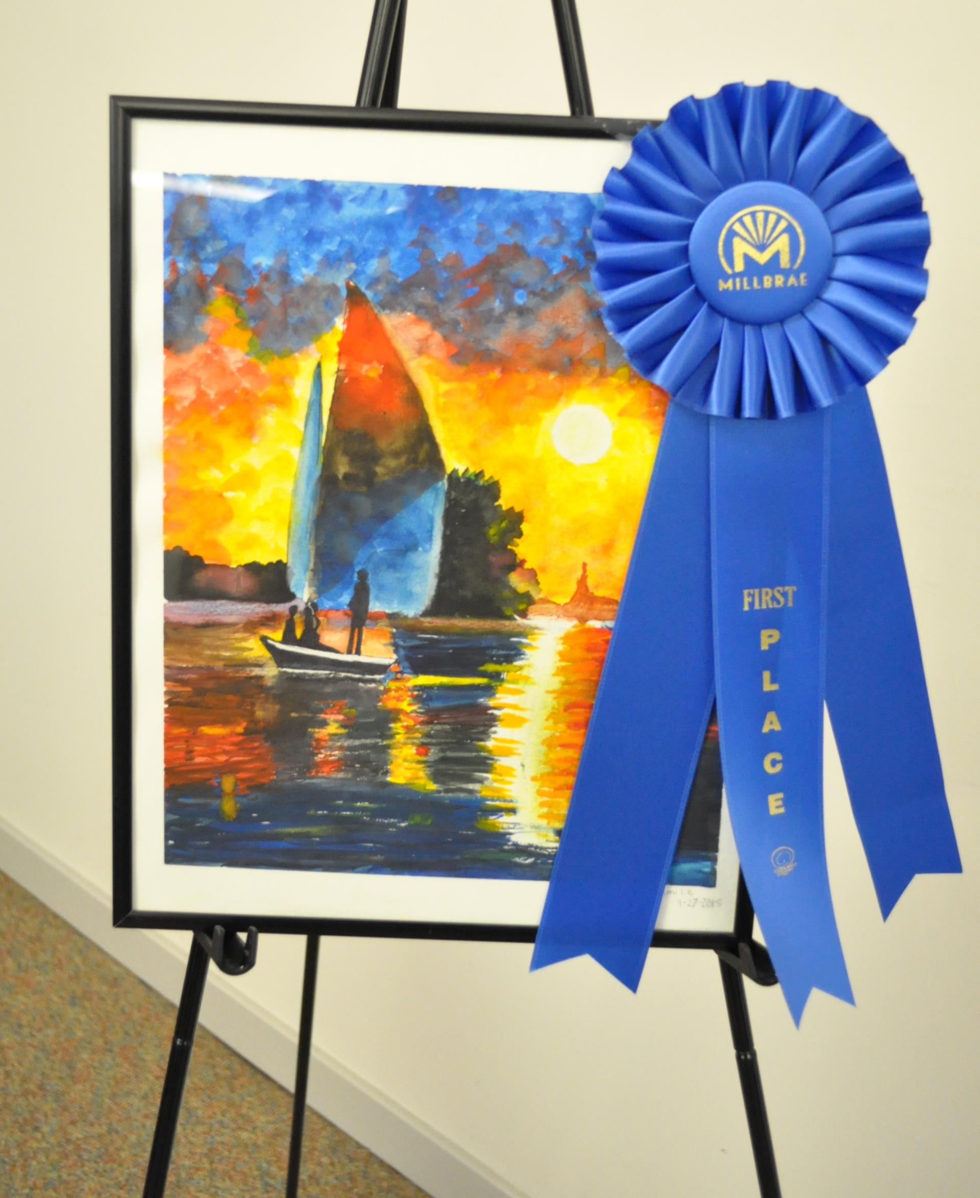 "Emi Le won first place in the middle school category with her work of art titled ""Family at Sunset."""