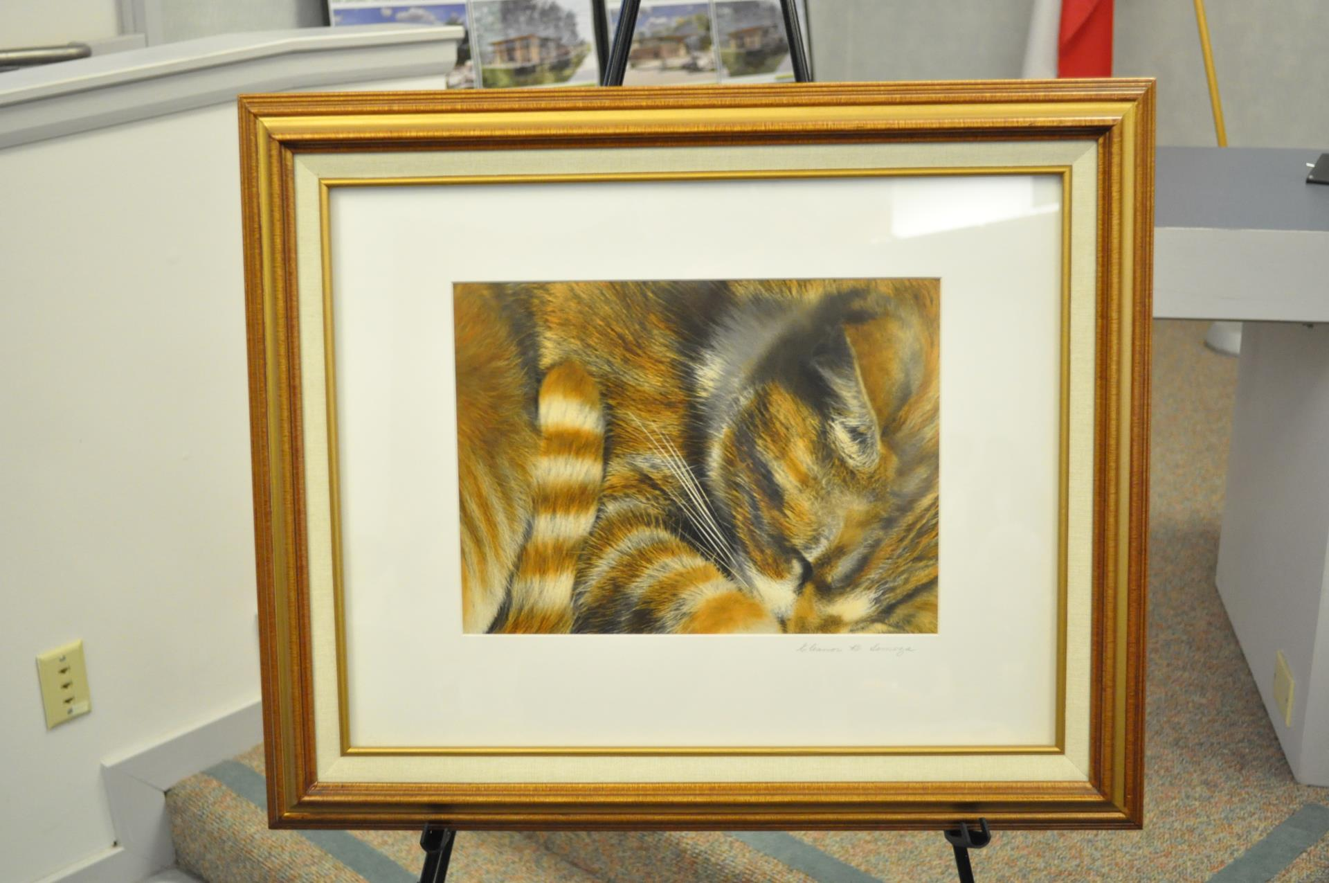 "Eleanor Somoza won best of show with her work of art titled ""Sleeping Cat."""
