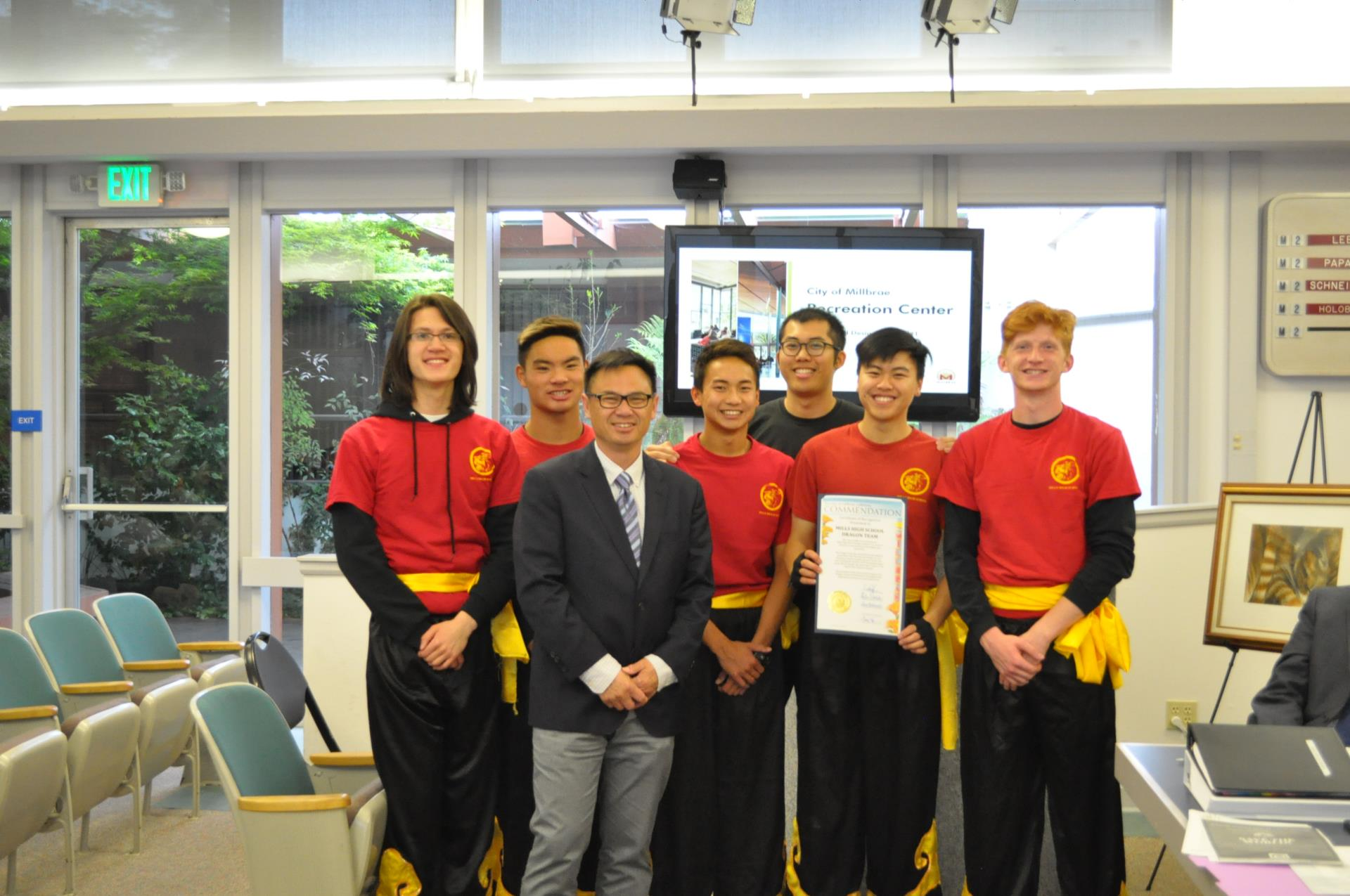 The City Council presented a commendation to the Mills High School Dragon Team for their 21 years of cultural arts performances throughout the Bay Area.