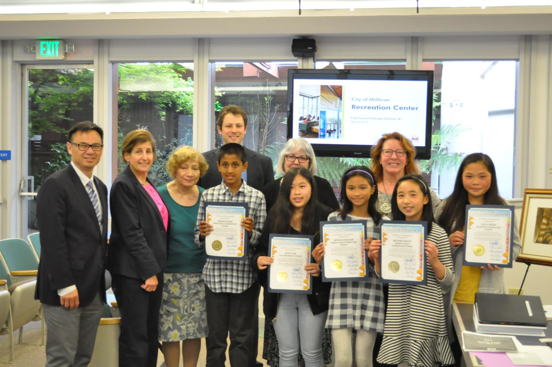 "The City Council presented commendations to the Millbrae Rotary Club's Students of the Year for their academic achievement and commitment to the Rotary's motto of ""Service Above Self."""