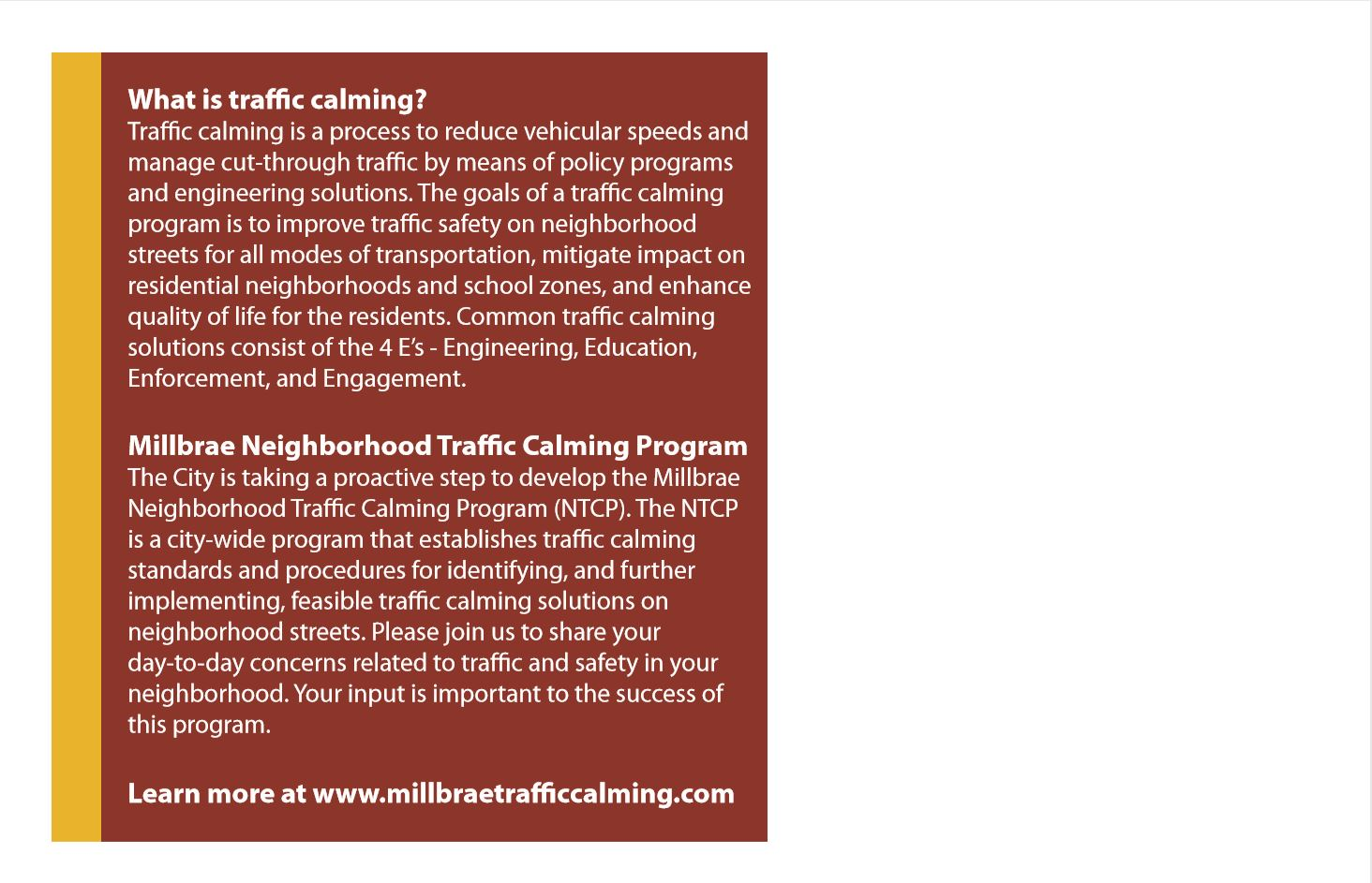 Traffic Calming Workshop Flier Back