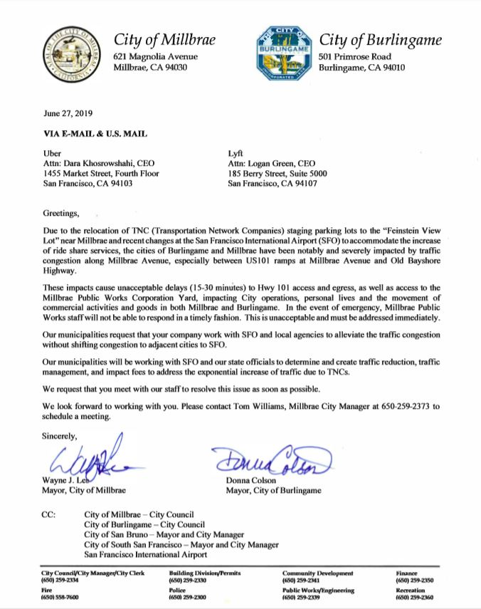 TNC Letter to SFO from Mayor Lee and Mayor Colson