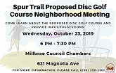 Spur Trail Proposed Disc Golf Course Neighborhood Meeting Flier Thumb
